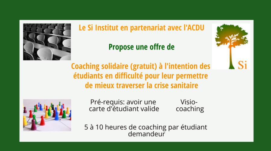 Coaching solidaire (gratuit) pour les étudiants en difficulté avec la crise sanitaire